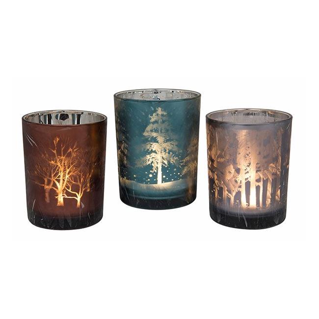 Christmas Glow Wood Tea-light Holder