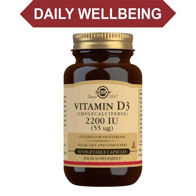 Solgar Vitamin D3 Cholecalciferol 2200 IU 55 ug Vegetable Capsules 50