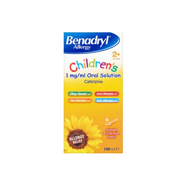 Benadryl Allergy Children 1mg/ml Oral Solution 2+ years 100ml