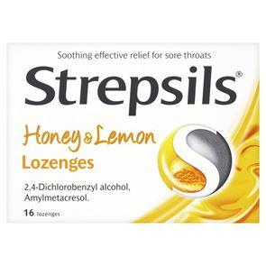 Strepsils Sore Throat Pain Relief Honey and Lemon Flavour 2.4mg Lozenges 16
