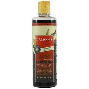 Dr Jacobs Charcoal Castile Liquid Soap for Face, Body wash and Shampoo 473ml