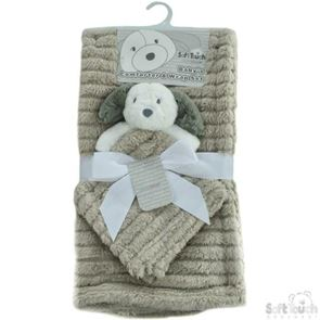 Striped Super Plush Wrap With Puppy Comforter Set Grey