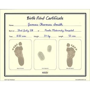 Save The Moment Inkless Foot Print Birth Certificate Keepsake