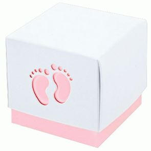 Baby Pink Footprint Favour Box (10)