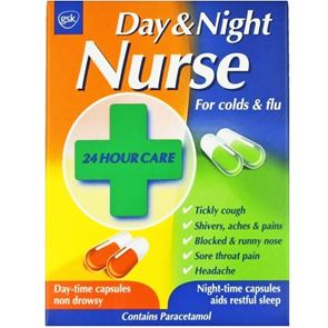 Day and Night Nurse (Paracetamol, Pseudoephedrine Hydrochloride, Pholcodine, Promethazine Hydrochloride and Dextromethorphan Hydrobromide) capsules 24
