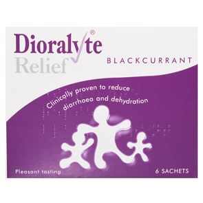 Dioralyte Relief (sodium citrate, sodium chloride and potassium chloride) Blackcurrant sachets 6