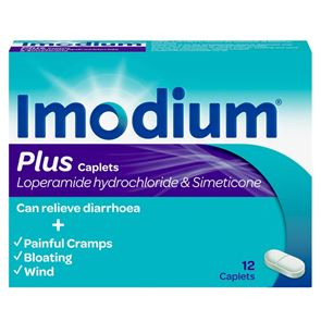 Imodium Plus (Loperamide hydrochloride & Simeticone) 2mg/125 caplets 12