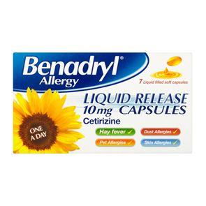 Benadryl Allergy Liquid Release 10mg Capsules 7
