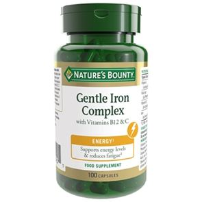 Nature's Bounty Gentle Iron Complex with Vitamins B12 and C capsules 100