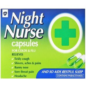 Night Nurse (Paracetamol, Promethazine Hydrochloride and Dextromethorphan Hydrobromide) capsules 10