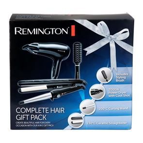 Remington 4-in-1 Complete Hair Gift Set Hair Dryer, Straightener, Curling Wand and Hairbrush S3500GP