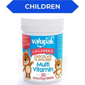 Valupak Children's Chocolate Flavoured Multi Vitamin One Daily Tablet 30